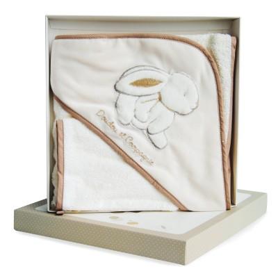 Doudou Et compagnie coffret lapin bonbon : cape de bain et gant