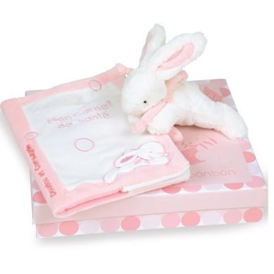 Doudou et Compagnie Coffret carnet de santé avec doudou lapin rose
