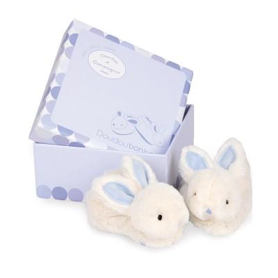Doudou Et compagnie coffret lapin bonbon : chaussons 0-6 mois bleu