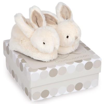 Doudou Et compagnie coffret lapin bonbon : chaussons 0-6 mois taupe