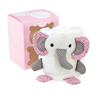 Doudou Et compagnie couverture blanche avec éléphant rose