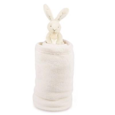Doudou Et compagnie peluche lapin ivoire et couverture blanche