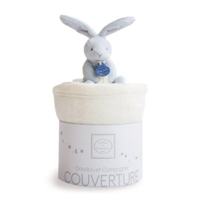 Doudou Et compagnie peluche lapin bleu et couverture blanche
