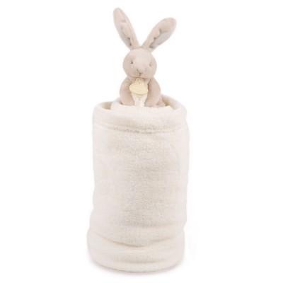 Doudou Et compagnie peluche lapin marron taupe et couverture blanche
