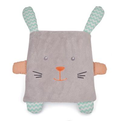 Doudou Et compagnie coffret couverture et coussin : lapin gris