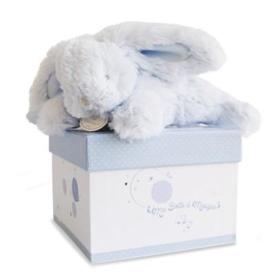 Doudou Et compagnie coffret boîte à musique : lapin bleu