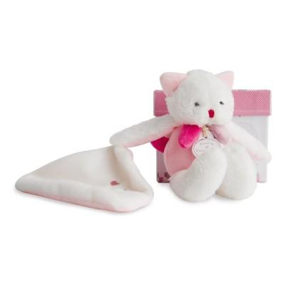 Doudou et Compagnie Les gommettes : Peluche chat rose avec doudou
