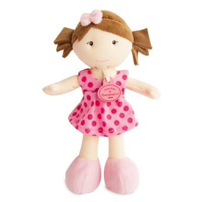 Doudou et Compagnie Les Petites Demoiselles : Poupée robe rose pois fuchsia
