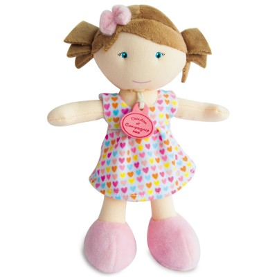 Doudou Et compagnie les petites demoiselles : poupée robe coeur