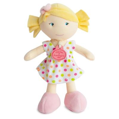 Doudou Et compagnie les petites demoiselles : poupée robe blanche pois multicolores