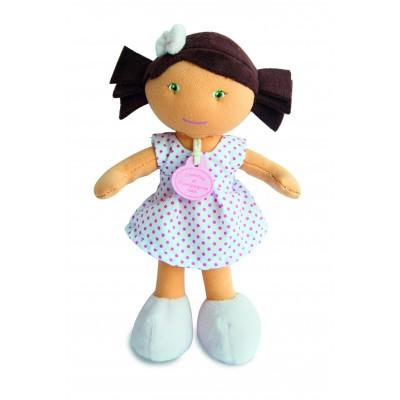 Doudou Et compagnie les petite demoiselles : poupée métisse : robe blanche pois rose