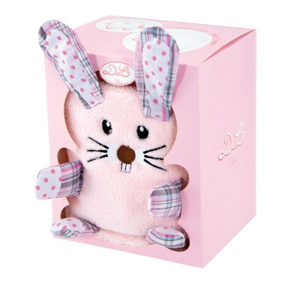 Doudou Et compagnie couverture rose avec lapin rose