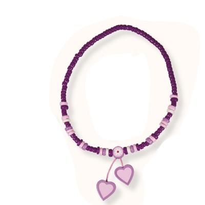 Le Coin des enfants collier 2 pendentifs : coeur violette