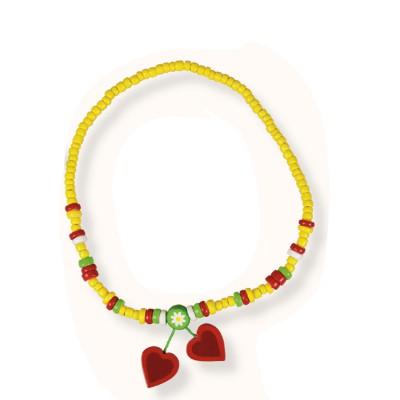 Le Coin des enfants collier 2 pendentifs : coeur rouge