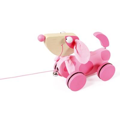 Scratch Europe jouet à tirer : chien rose lily