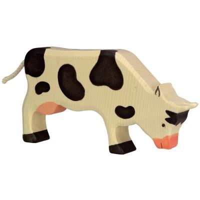 Holztiger Figurine en bois holztiger : animaux de la ferme : vache broutant