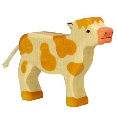 Holztiger Figurine en bois holztiger : animaux de la ferme : veau marron