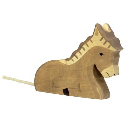 Holztiger Figurine en bois holztiger : animaux de la ferme : âne allongé