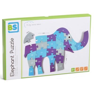 Bs Jeux puzzle 26 pièces en bois : eléphant