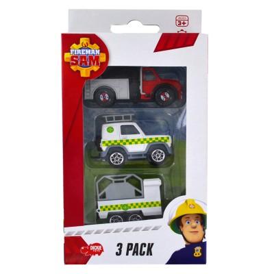 Dickie Toys set de 3 véhicules de secours sam le pompier : camion, voiture et remorque