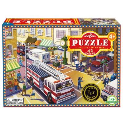 Eeboo Puzzle 42 pièces : camion de pompiers