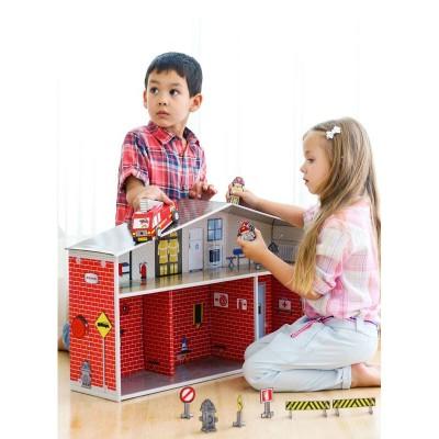 Krooom Ensemble de jeu à assembler : station de pompiers dylan