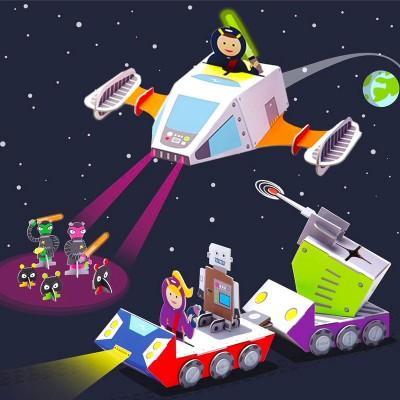 Krooom Ensemble de jeu à assembler : vaisseau spatial de police galactique