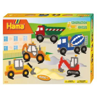 Hama Boîte de 4000 perles et plaques hama midi : les engins de chantier