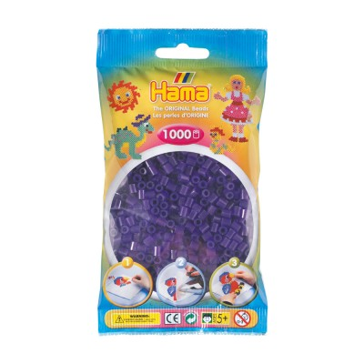 Hama Sachet de 1000 perles Hama Midi : Violet transparent