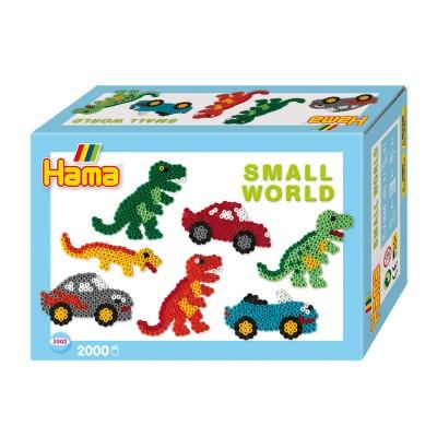 Hama Perles à repasser Hama Midi : Collection Le monde miniature : Dinosaures et voitures
