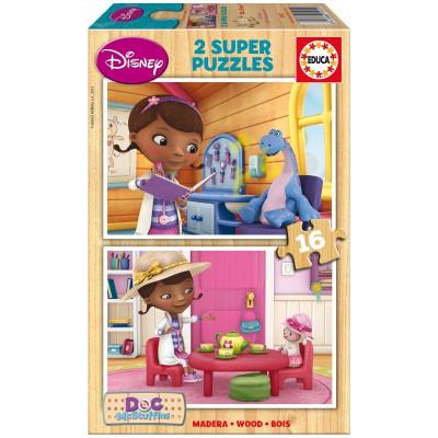 Educa Puzzle 2 x 16 pièces en bois : Docteur la Peluche