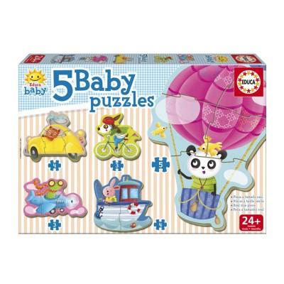 Educa Baby puzzle : 5 puzzles : animaux au volant