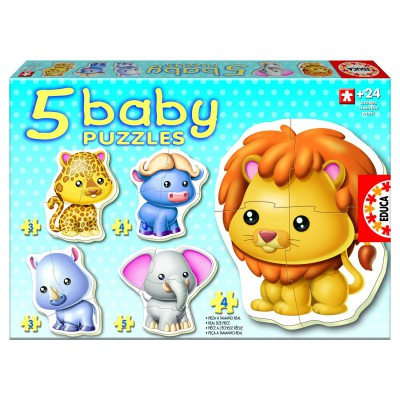 Educa Baby puzzle - 5 puzzles - les animaux sauvages