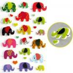 Sachet une planche de gommettes en 3D : Eléphants