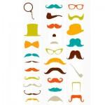 Sachet une planche de gommettes en 3D : Moustaches