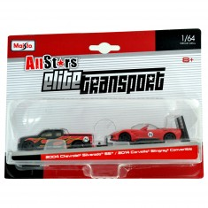 Modèles réduits 2 véhicules échelle 1/64 : Chevrolet Silverado SS / Corvette Stingray Convertible