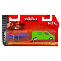 Véhicule en métal Majorette Trailer : Camionnette verte avec zodiac bleu