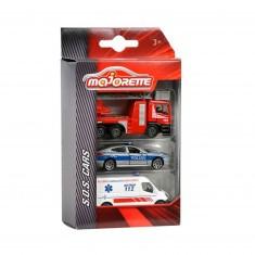 Voitures de secours Majorette Premium SOS : Set de 3 véhicules
