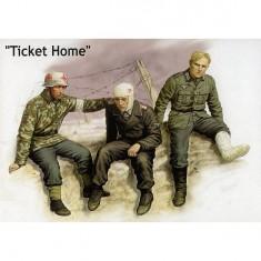 Figurines 2ème Guerre Mondiale : Billet de retour: 1 infirmier et 2 blessés : Armée allemande 1941-