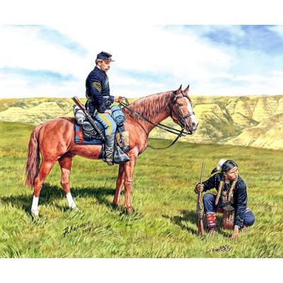 Figurines Guerre de Sécession: Cavaliers US Cavalry et Eclaireur Indien1864 - Masterbox-MB3549