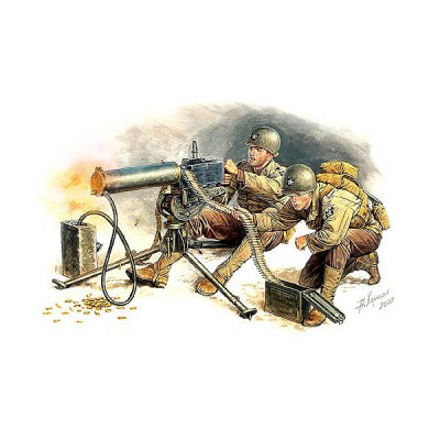 Figurines 2ème Guerre Mondiale : Equipe de mitrailleuse US Browning cal. 30 1944 - Masterbox-MB3519