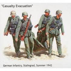 Figurines 2ème Guerre Mondiale : Infanterie allemande: Evacuation d'un blessé : Stalingrad Automne