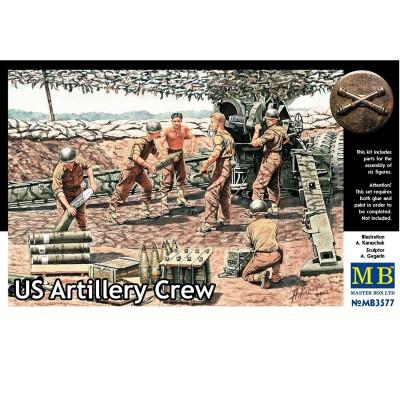 Figurines 2ème Guerre mondiale : Set artilleurs Us Army 1944-1945 - Masterbox-MB3577