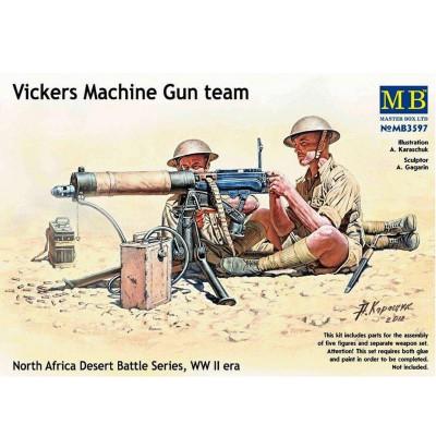 Figurines 2ème Guerre mondiale : Set mitrailleuse Vickers 8TH Army, Afrique du Nord - Masterbox-MB3597