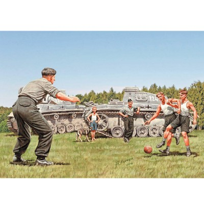 Figurines 2ème Guerre mondiale : Une pose entre deux combats, tankistes allemands - Masterbox-MB35149