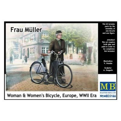 Maquette Vélo + Figurine : Frau Müller, Allemagne, 2ème guerre mondiale - Masterbox-MB35166