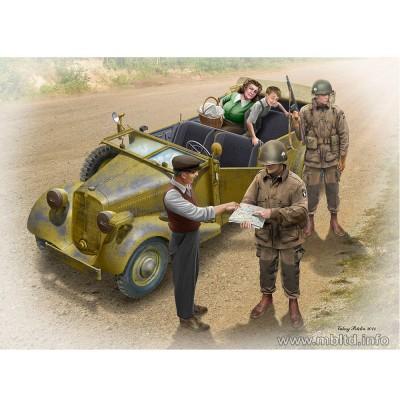 Maquette voiture + 5 figurines : L'auto-Stop : Parachutistes US et Civils Français - Masterbox-MB35161