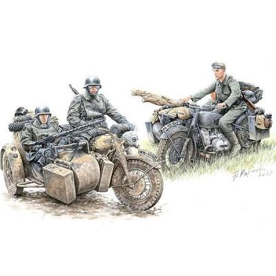 Figurines 2ème Guerre Mondiale : Set de reconnaissance motocycliste allemand: Moto BMW R-75   - Masterbox-MB3548