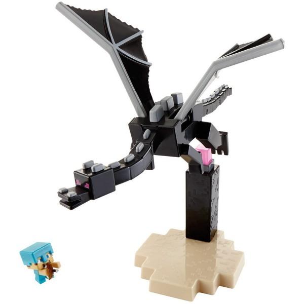 Coffret figurines Minecraft : Dragon de l'Ender contre Steve - Mattel-DJY38