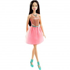 Poupée Barbie Glamour : Robe brillante rose corail cheveux bruns